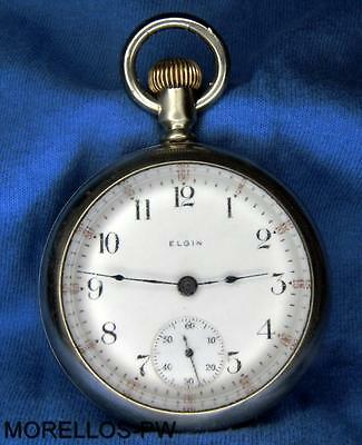 c 1915 ELGIN 18S POCKET WATCH 15 JEWELS NICKEL MOVEMENT OPEN FACE FULLY SERVICED