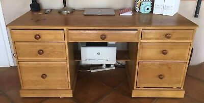 Beautiful Rustic Used Solid French Oak Computer Desk 7 drawers