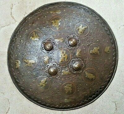 Antique Hand Engraved Brass Metal Indian Dhal Shield Decorative