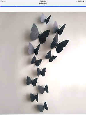 12//24x 3D Butterfly Sticker Art Wall Stickers Decals Room Decorations Home Decor
