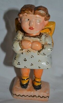 """1948 Hand Carved & Painted """"ANGEL CHILD ON MY BACK"""" Signed FOLK ART Figure"""