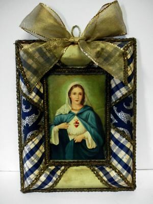Klosterarbeit-Heiliges Herz Maria-vintage-lovely religious image-Holy Heart Mary