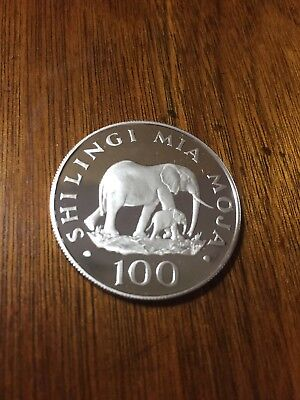 100 Shillings Proof Tanzania 1986 'The elephant' Silver Coin Proof Rare