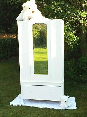 Antique vintage Early 20th century newly painted white Wardrobe Hall cupboard