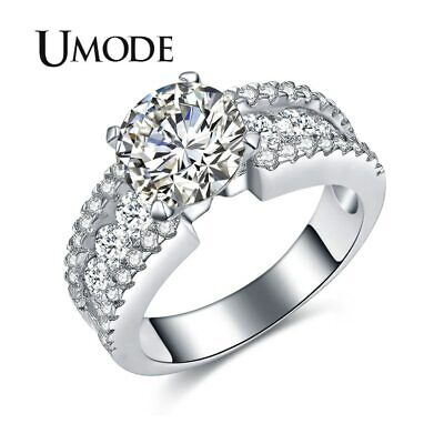UMODE Fashion 2.75ct Cubic Zirconia Wedding Engagement Rings For Women White