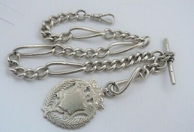1897 - JOSEPH SEWILL - SOLID SILVER - WATCH CHAIN & FOB - 51.5 grams