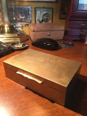 Antique Brass Cigarette Box Made In China with Wooden Interior- #C24