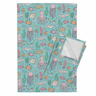 Ocean Life Ocean Marine Sea Life Linen Cotton Tea Towels by Roostery Set of 2