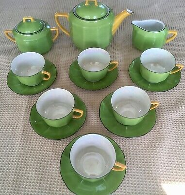 "Very pretty Art Deco ""Celebrate"" pattern porcelain tea service. Czech retro."