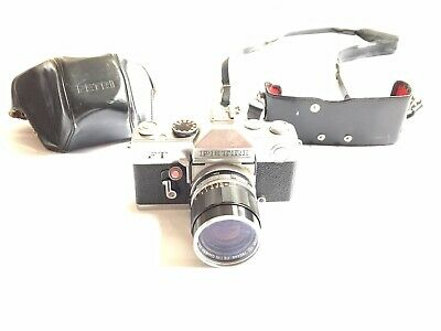 VTG PETRI FT 35mm SLR Film Camera with 55 F1.8 Lens and Original Case Japan