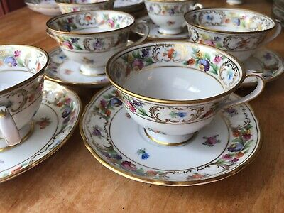6 Schumann Dresden Flowers Empress Footed Coffee/Tea Cup and Saucer