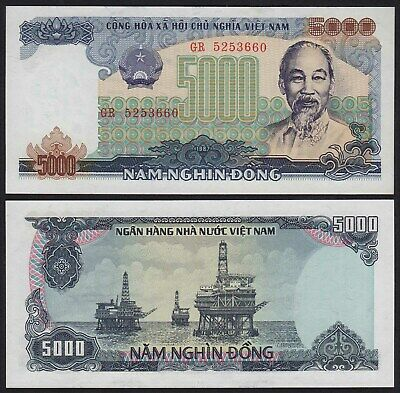 VIETNAM - 5000 Dong Banknote 1987 Pick 104a  UNC   (21099