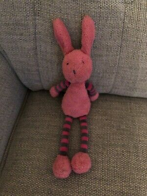 Jellycat Tiglet Bunny Rabbit Pink & Grey Striped Baby Soft Toy With Squeak Vgc