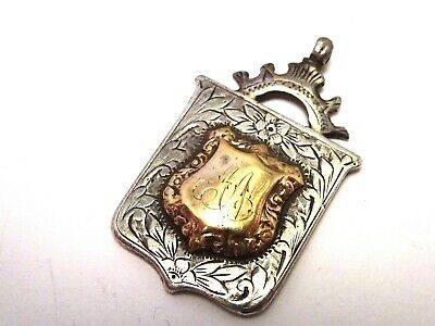 Antique English Sterling Silver & Rose Gold Pendant / Fob 1914.