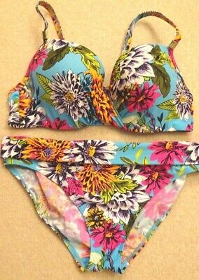 5bcc189287 36Dd 'The Collection' Underwired Bikini Top Tropical Theme/Bottoms Size 12