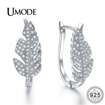 UMODE Fashion CZ Crystal 925 Sterling Silver Hoop Earrings for Women Wedding