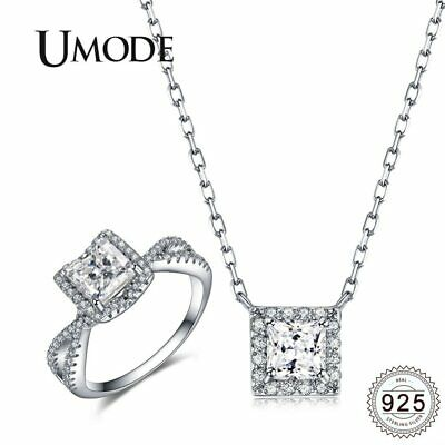 Jewelry Sets Adjustable Open Rings 925 Silver CZ Long Chain Necklaces Pendants