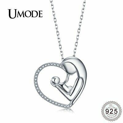 UMODE Baby Mom Gifts Kiss Heart Sterling 925 Silver Necklaces Pendants for
