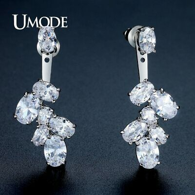 UMODE Brand New Luxury Leaf Shape Drop Earrings for Women White Gold Color