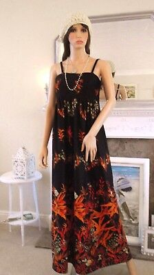 Vintage 60s strappy black orange floral maxi dress Evening party Hippie