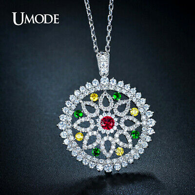 UMODE Vintage Full Paved Round Flower Bohemian Colar Longo Chain Necklaces