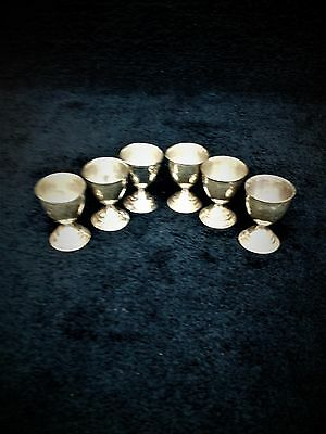 """antique silver plated egg cups, set of 6, """"Victorian"""" style decorations"""