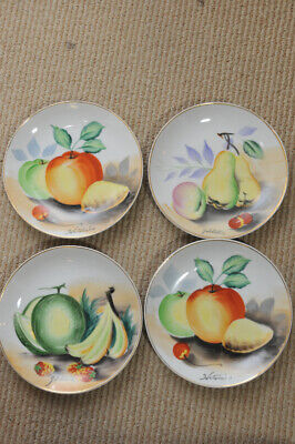 Vintage Hand Painted set of 4 small appetizer Fruit Plates Signed Hitomis Japan