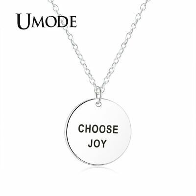 UMODE Retro Choose Joy Carve Letter Hip Hop Chain Necklaces Pendants