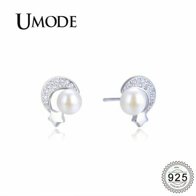 UMODE Moon Star Round Freshwater Pearl Earrings 925 Sterling Silver Stud