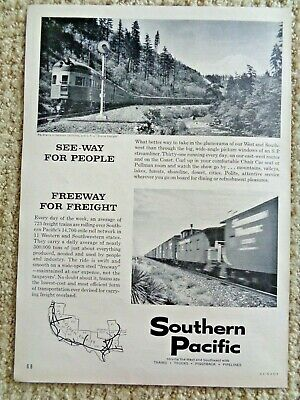 1960 Vintage Print Ad SOUTHERN PACIFIC Train Travel West Southwest Freight Rails