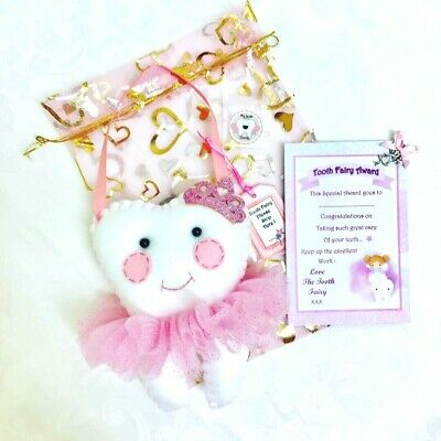 Pink Glitter Princess Tooth Fairy Pillow And Award Set - Pocket On Back