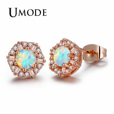 UMODE Cute Round White Fire Opal Stone Snow Flower Stud Earrings for Women Rose