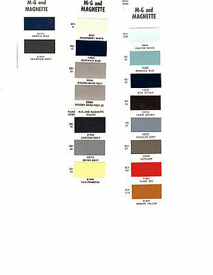 1957 1958 1959 1960 1961 1962 1963 To 1975 Magnette M G Paint Chips 666870Dz4