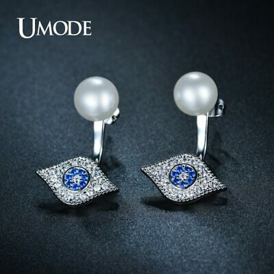 UMODE Exquisite Hamsa Double Side Simulated Pearl Stud Earrings Full Paved