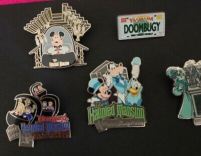 Disney Pins Five Haunted Mansion Le & Cast Member / Mickey - Lot Of 5 Pins!!