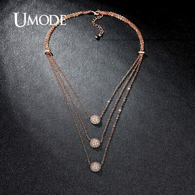 UMODE Unique Design 3 Layers Clear Micro CZ Paved Rose Gold Color Choker
