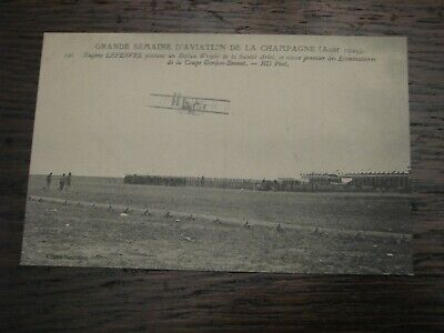 Aviation Postcard Airplane French France Biplane 1909 Champagne Lefebvre Wright