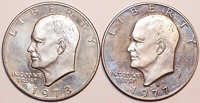 1973-S & 1977-S Eisenhower Silver Dollar Clad Proof   #0040
