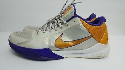 official photos f700c 9a807 Nike Zoom Kobe V 5 Home Sz 13 White Del Sol Purple Yellow 386429-102