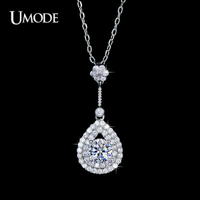 UMODE Hot Selling Cubic Zirconia Halo with Water Drop Pendants Ladies Necklaces