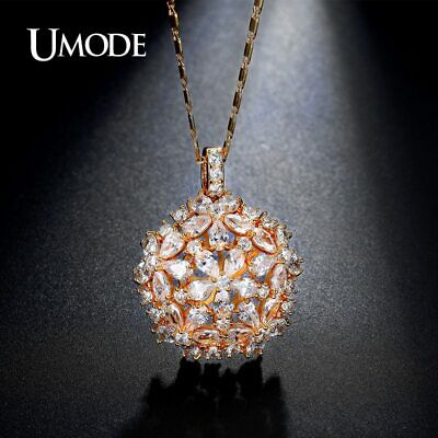 UMODE Cluster Flower Design Pear and Round Cut CZ Crystal Gold Color Necklaces