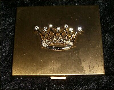 Mid-Century Gold Tone Crown Emblem Powder Mirror Compact - Never Used