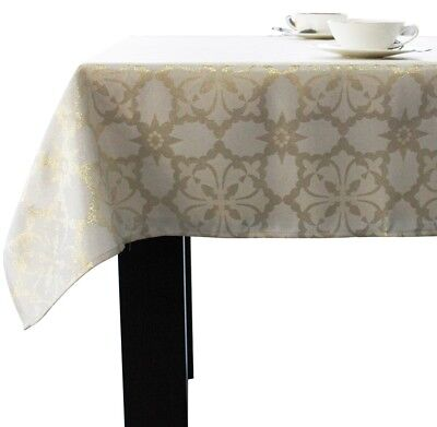 Assorted Size Holiday Jacquard Fabric Tablecloths Polyester Ivory /Metallic Gold