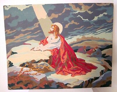 Vintage Jesus Praying Light Shining Christian Paint by Numbers Picture