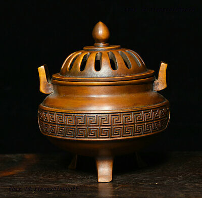 China Folk collection Boxwood Wood Carved exquisite Incense Burner Censer