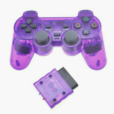 Purple Clear Wireless Sony Playstation 2 PS2 Dual Shock Transparent Controller