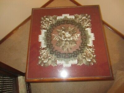 Antique table - hand beaded insert - square - oak - 52 x 52 x 42