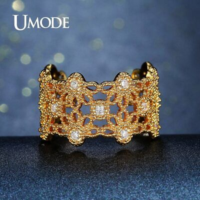 UMODE Unique Trendy Flower Open Rings for Women Gold Color CZ Stone Crystal