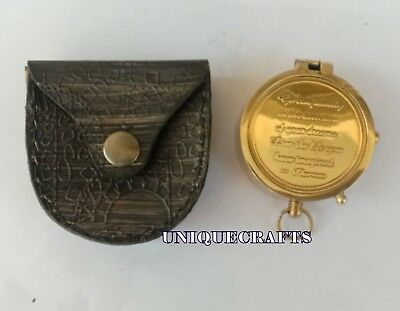 Nautical Flat Engraved Brass Compass Ship Collectible Navy Direction Gift.