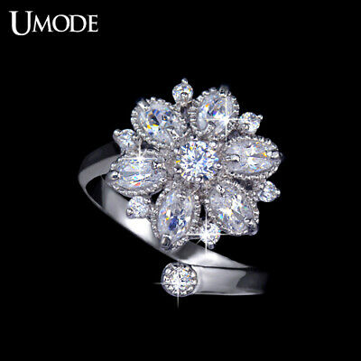 UMODE Size Adjustable Curve Band Anillos Mujer Aneis Design Flower CZ Finger